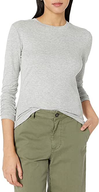 Daily Ritual Amazon Brand Women's Rib Knit Jersey Long-Sleeve Crew Neck Shirt