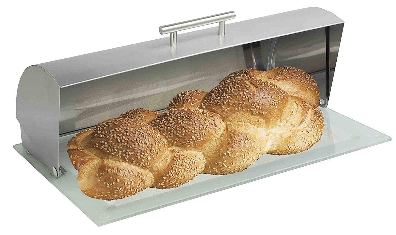 Home Basics BB44457 Stainless Steel Bread Box with Glass