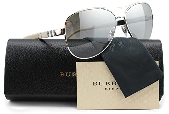 af04cadb3c3 Amazon.com  Burberry BE3080 Aviator Sunglasses Shiny Silver w Silver ...