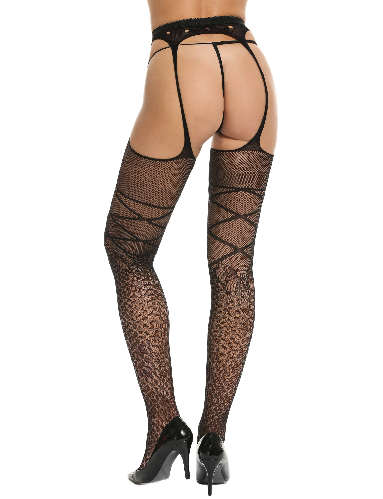 Clearance Sale Women Sexy Lingerie Stockings Tights Pantyhose Mesh Hollow Floral Lace Stretchy with Adjustable Garter Belt