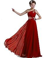 DLFASHION One-shoulder Floor Length Beaded Chiffon Prom Dress