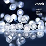 Lalapao Solar Powered String Lights 2 Pack 50 LED G12 Fairy Christmas Decor Globe Lighting with 8 Modes for Xmas Tree Outdoor Indoor Garden Path Patio Lawn Home Holiday Party Decorations (White)
