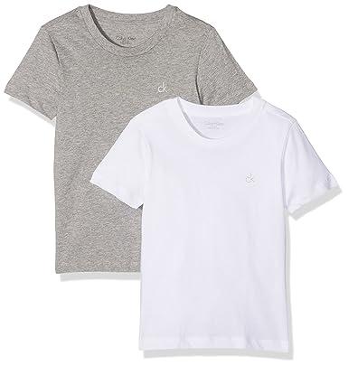 f001e9f33b2d Calvin Klein 2-Pack CK Logo Crew-Neck Boys T-Shirts, Grey/White ...