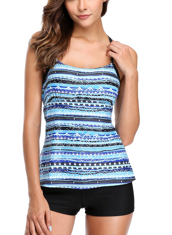 30d516874e CharmLeaks Womens Solid Geo Printed Tankini Two Piece Tankini Top Swimwear  Set product image