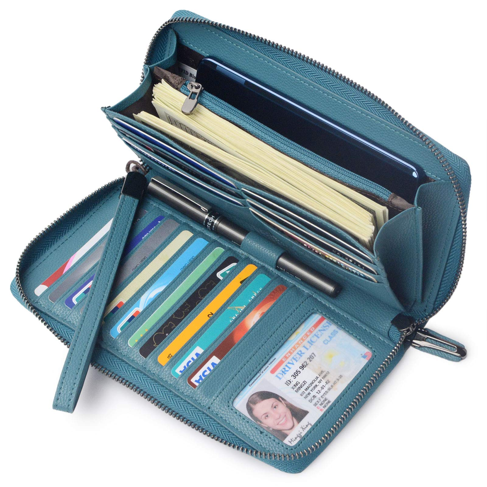 Women RFID Blocking Wallet Leather Zip Around Phone Clutch Large Travel Purse Wristlet (Lake Blue) by Bveyzi