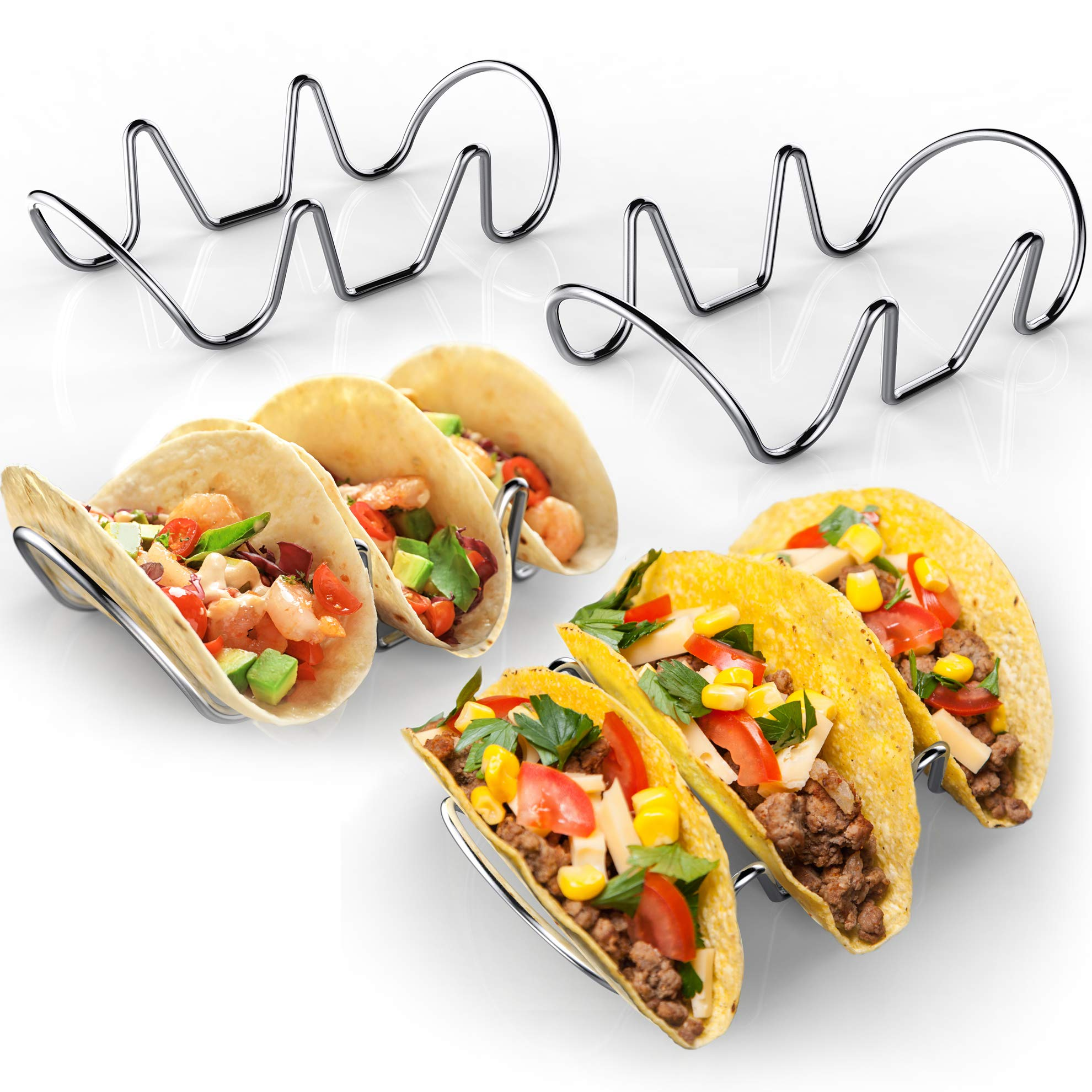 Premium Taco Holders - 4 Pack Stainless Steel Taco Stands (Holds 12 Tacos) - Oven & Dishwasher Safe Stackable Trays - Racks Hold Soft & Hard Shell Tacos