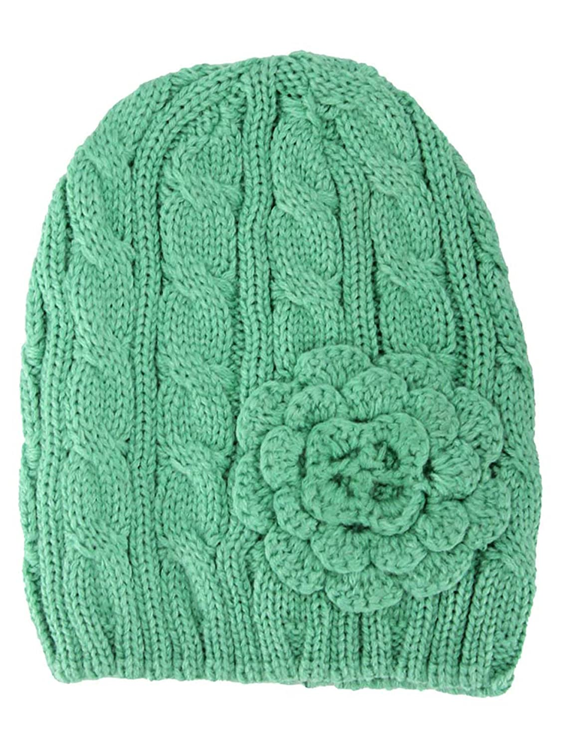 Luxury Divas Sage Green Thick Cable Knit Beanie Hat With Rosette at Amazon  Women s Clothing store  27de8044d75