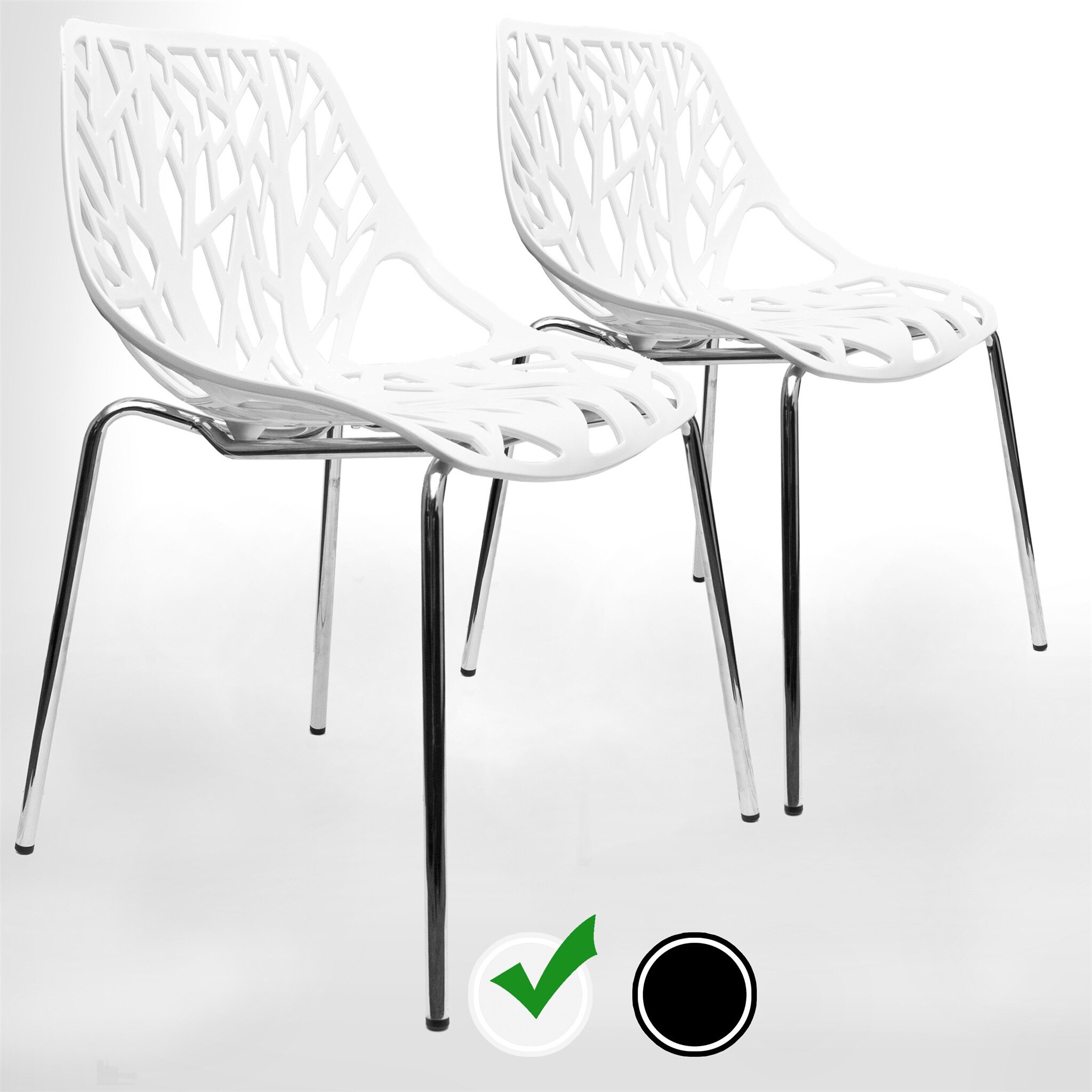 UrbanMod Modern Dining Chairs (Set of 2) by, White Chairs, Kid-Friendly Birch Chairs, Stackable Modern Chair, Mid Century Dining Chair by UrbanMod