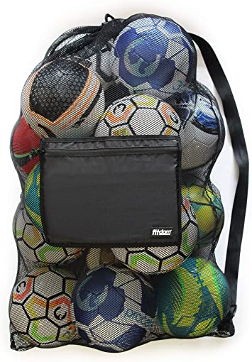 Fitdom Extra Large Heavy Duty Mesh Bag. Best for Soccer Ball, Water Sports, Beach Cloth, Swimming Gears. Adjustable Shoulder Strap Made to Fit Adults ...
