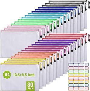 30PCS Mesh Zipper Pouch Document Bag, Plastic Zip File Folders, Letter Size/A4 Size for School Office Supplies, Travel Storage(9x13Inch, 10 Colors)