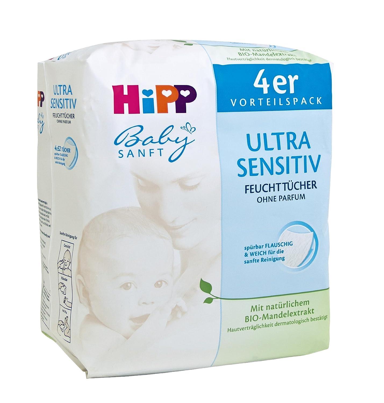 HiPP Babysanft Feucht Tücher Ultra Sensitiv, 3er Pack (3 x 208 Tücher) 9481