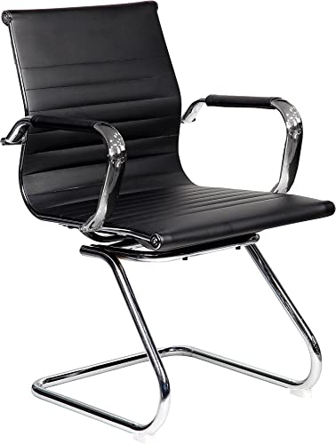 Techni Mobili Modern Visitor Chrome Chair in Black