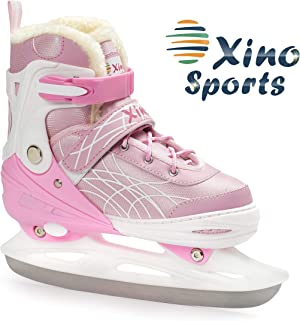 Deluxe Adjustable Ice Skates - for Boys and Girls, Two Awesome Colors - Blue and Pink, Faux Fur Padding and Reinforced Ankle Support, Fun to Skate!