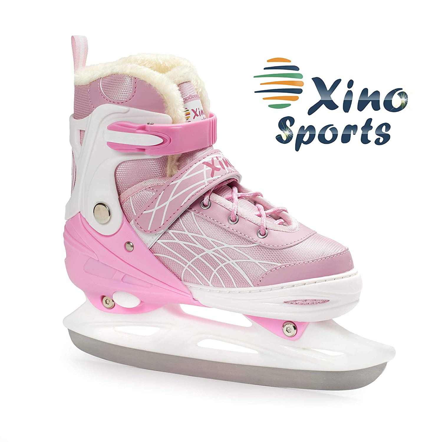 XinoSports Deluxe Adjustable Ice Skates - for Boys and Girls, Two Awesome Colors - Blue and Pink