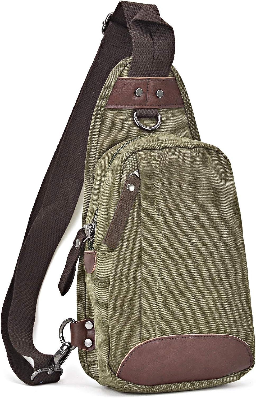 Canvas Cross Body Bag Chest Messenger Bag Small Multi-Pockets Sling Bag