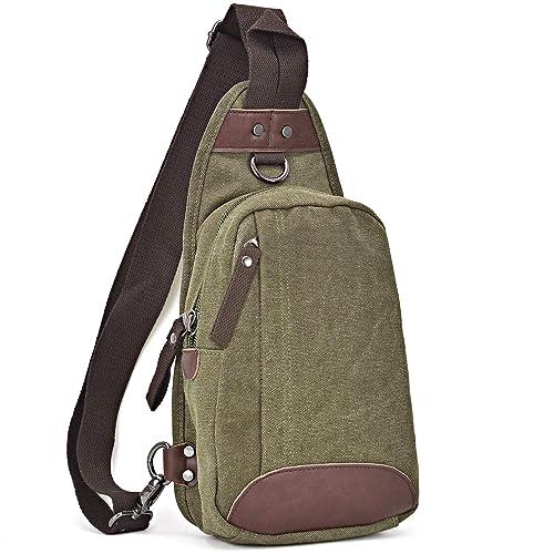 eb54fa944 Dasein Canvas Sling Bag Chest Messenger Bag Small Daypack Crossbody Backpack  Chest Pack for Men Women
