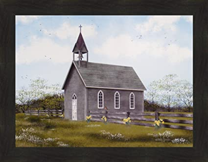 He Is Risen By Billy Jacobs 22x28 Country Church Cross Steeple Spring Easter Flowers Framed Art