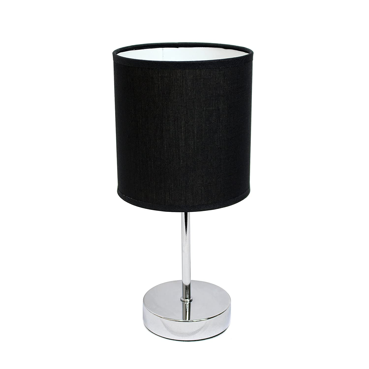 "Simple Designs Home LT2007-BLK Chrome Mini Basic Table Lamp with Fabric Shade, 5.7"" x 5.7"" x 11.81"", Black"