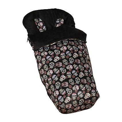 Babyline Lovely Skull - Saco de silla con manoplas, unisex, color negro
