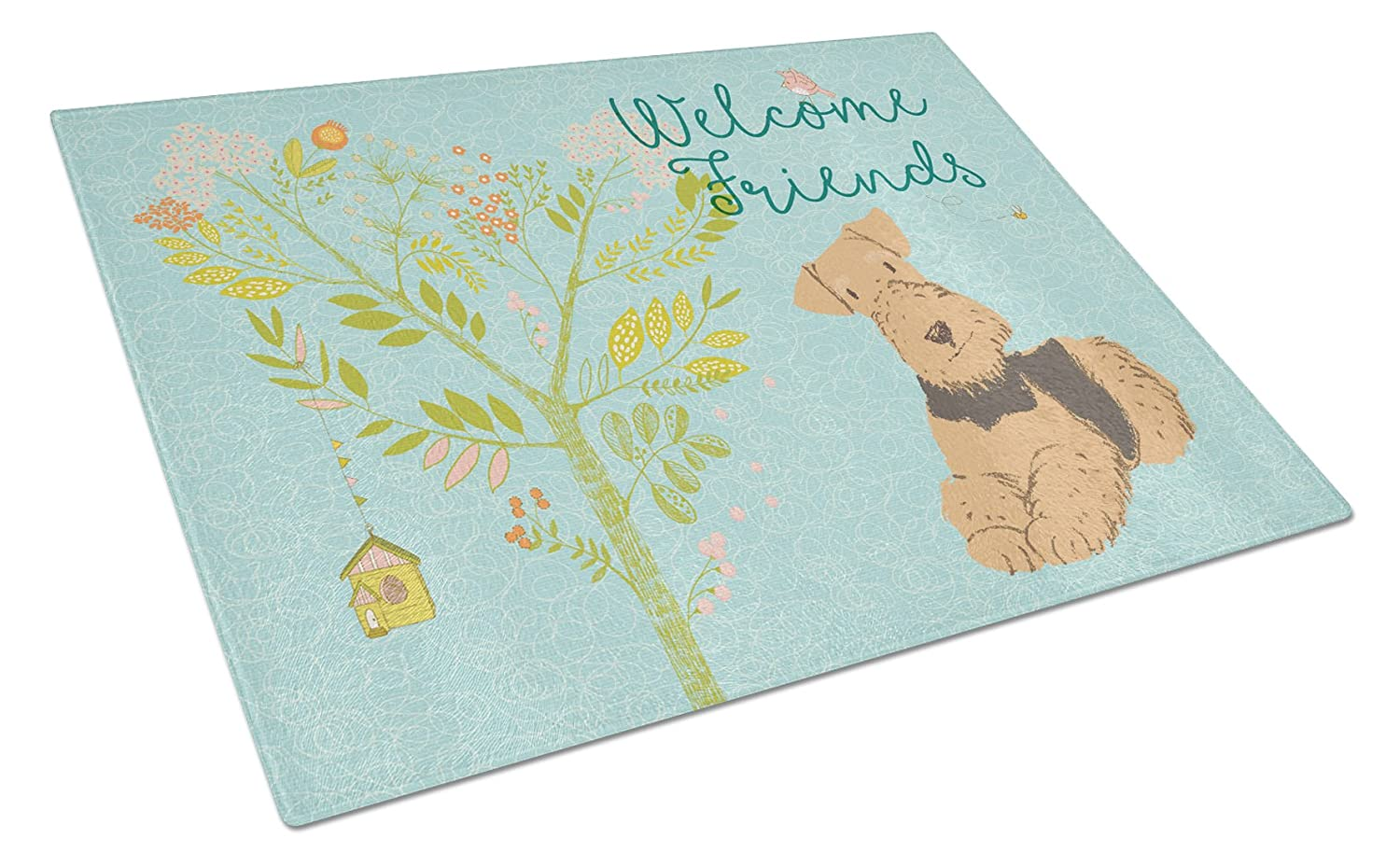 Carolines Treasures BB7625LCB Welcome Friends Airedale Terrier Chopping Board Large,