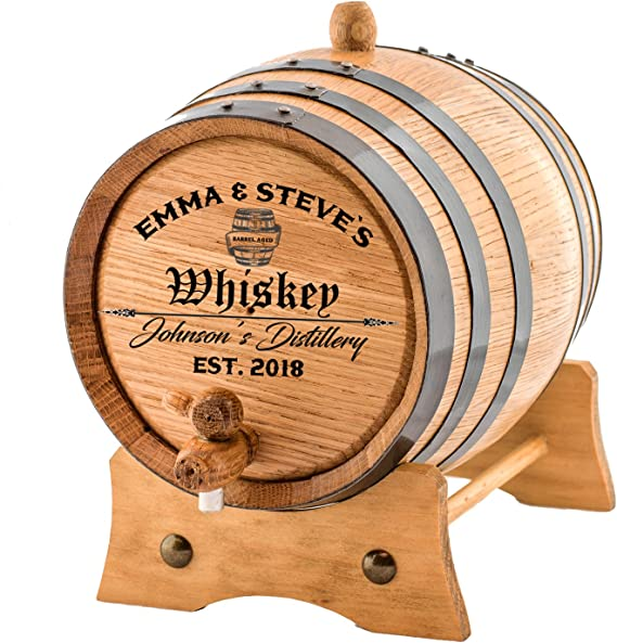Personalized - Custom Engraved American Premium Oak Aging Barrel - Age your own Whiskey