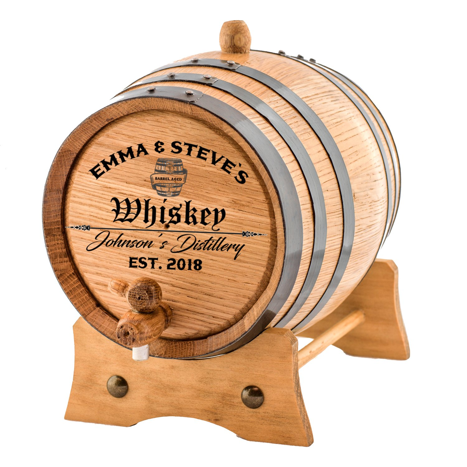 Personalized - Custom Engraved American Premium Oak Aging Barrel - Age your own Whiskey, Beer, Wine, Bourbon, Tequila, Rum, Hot Sauce & More | Barrel Aged (1 Liter) by Sofia's Findings