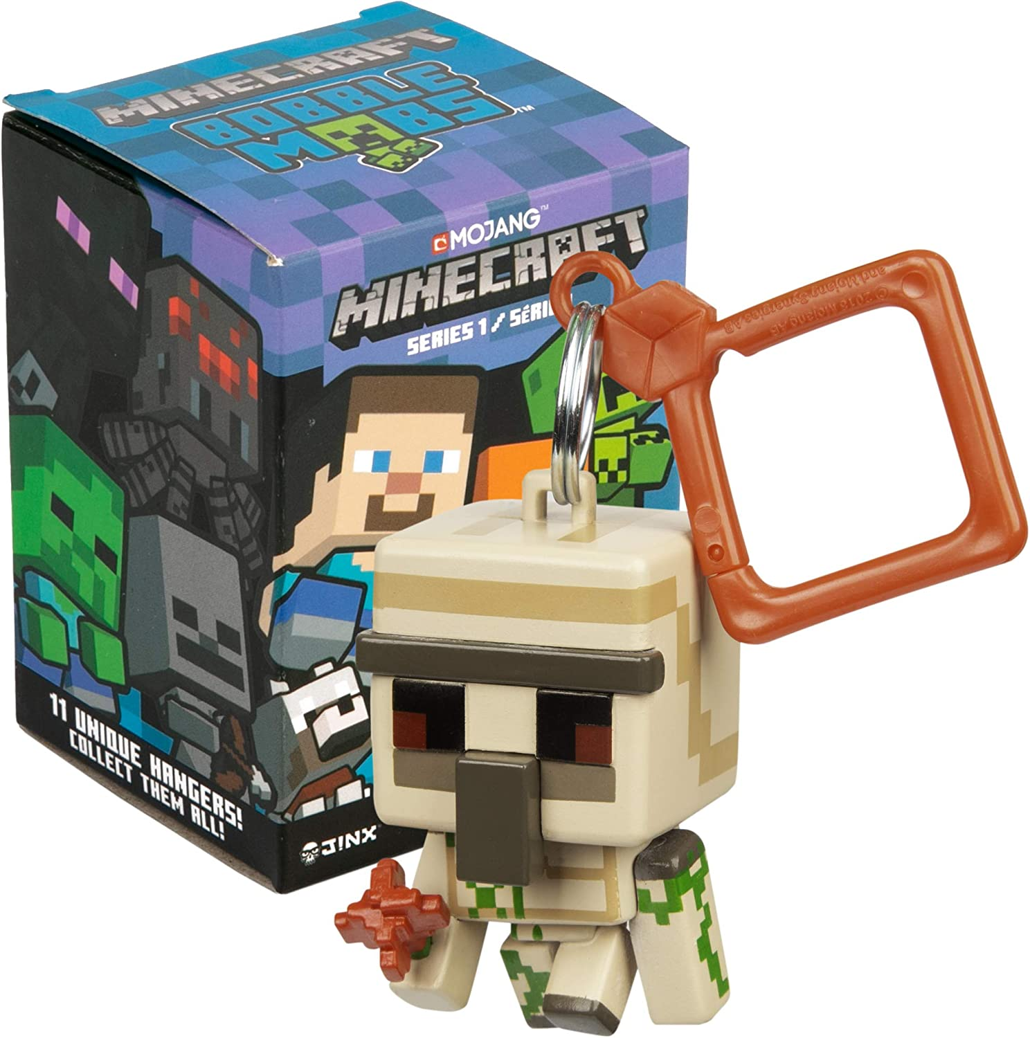 JINX Minecraft Bobble Mobs Key Chain Blind Box (One Mystery Figure), Series  11 Collectible