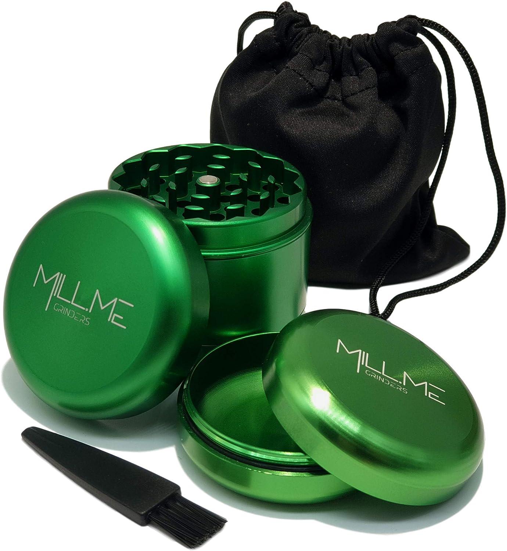 Black Bonus Herb Storage Jar Included. Mill.Me 4 Piece 2.2 Spice Herb Grinder