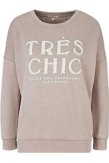 Soccx Damen Kuscheliges Sweatshirt mit Buntem Schriftzug