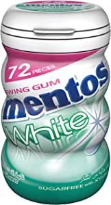 Mentos Gum Sugar Free White SpearMint - Pack of 6 Bottles (6 x 72 Pcs)