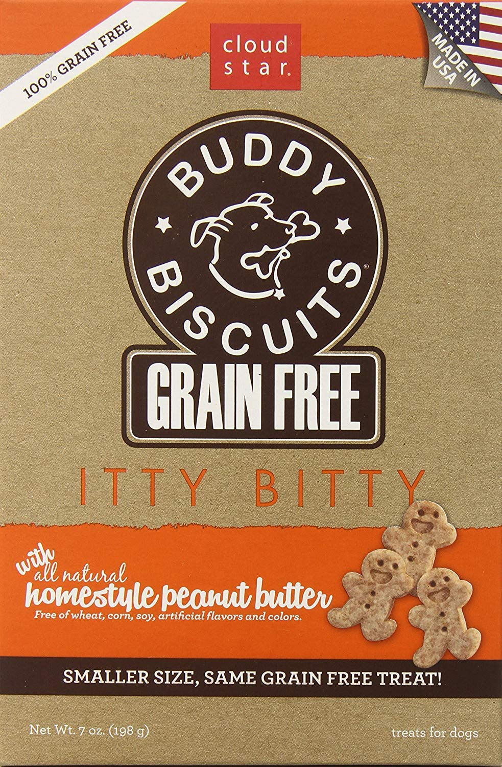 2-Pack Cloud Star Grain Free Itty Bitty Buddy Biscuits in a Bag, 7-Ounce, Homestyle Peanut Butter (2-Pack)