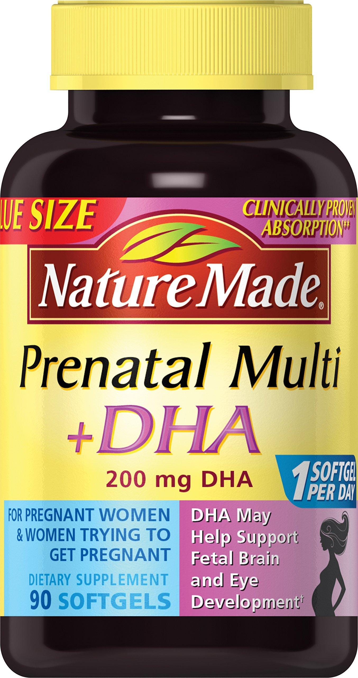 Nature Made Prenatal + DHA 200 mg Softgels Value Size 90 Ct