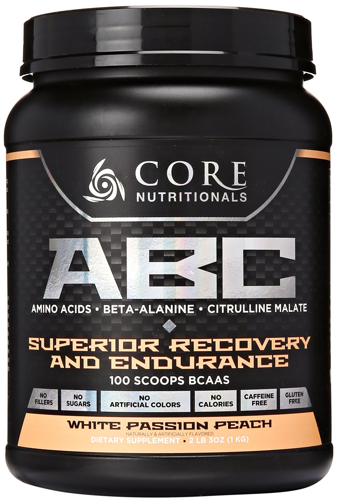 Core Nutritionals ABC Pre-Workout Supplement, White Passion Peach, 2 lb. 3 oz.