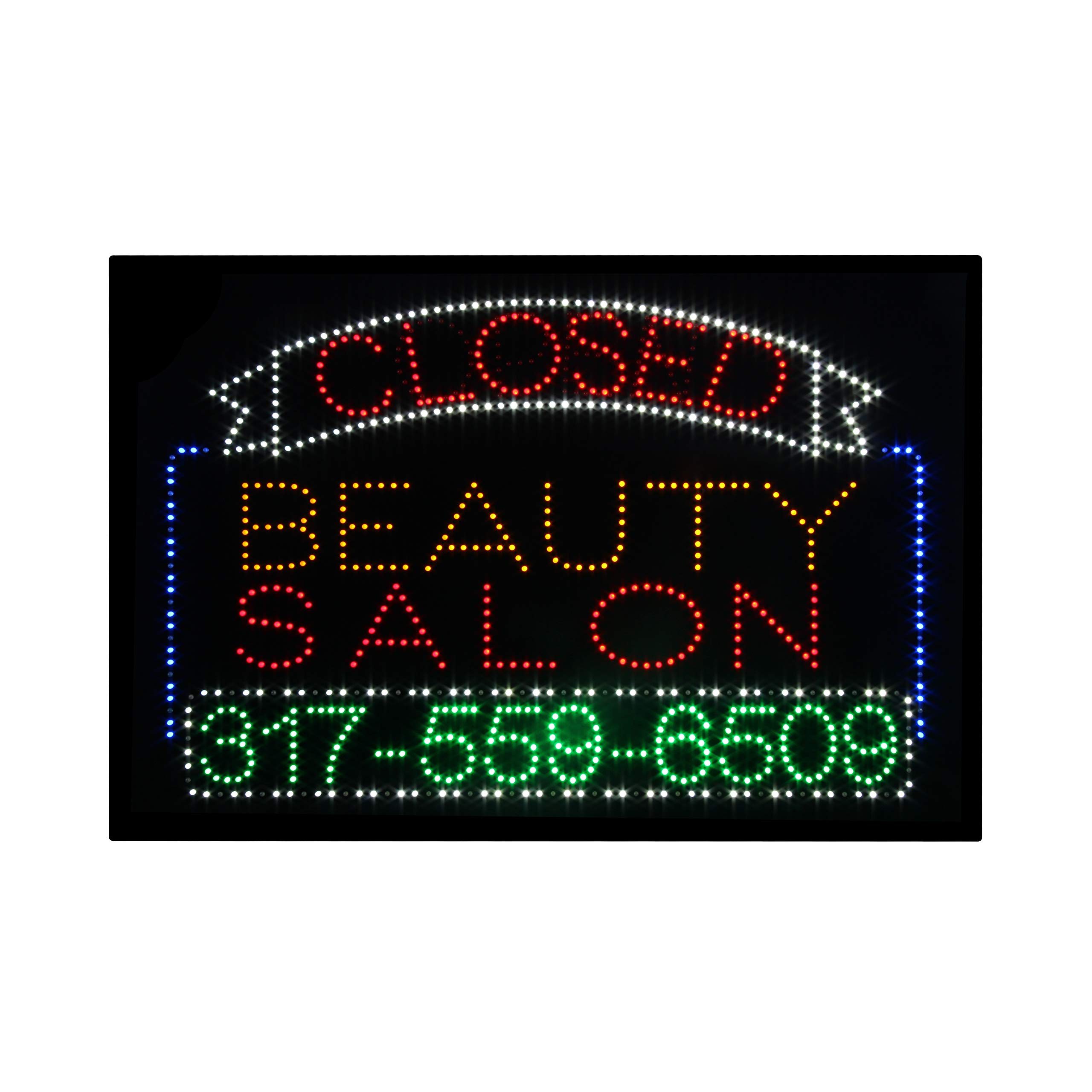 LED Beauty Salon Open Closed 2 in 1 Light Sign Super Bright Electric Advertising Message Display Board for Nails Spa Pedicure Facial Waxing Business Shop Store Window Bedroom 36 x 24 inches by HIDLY (Image #1)