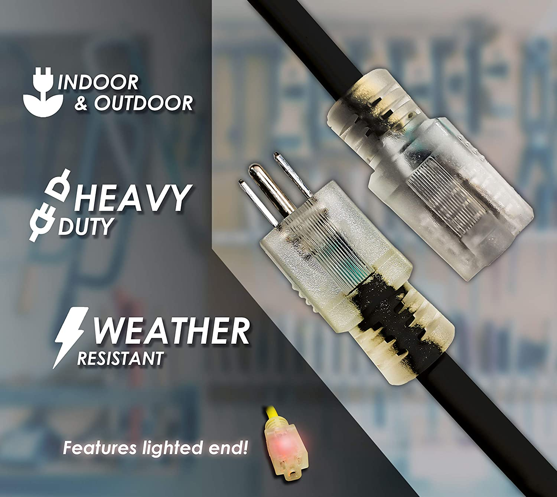 LifeSupplyUSA 10//3 200ft SJTW 15 Amp 125 Volt 1875 Watt Lighted End Indoor//Outdoor Black Heavy Duty Extension Cord 200 Feet