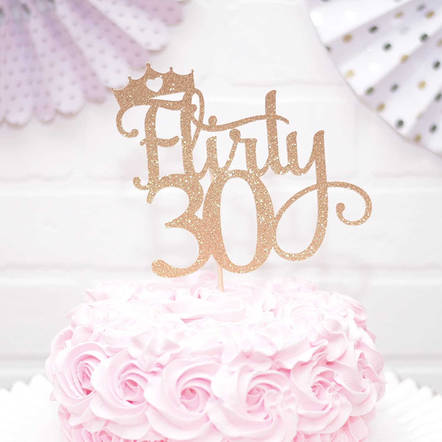 Fabulous Amazon Com Flirty 30 Cake Topper For 30Th Birthday Gold Handmade Funny Birthday Cards Online Inifodamsfinfo