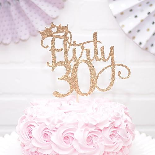 Amazon Flirty 30 Cake Topper For 30th Birthday Gold Handmade