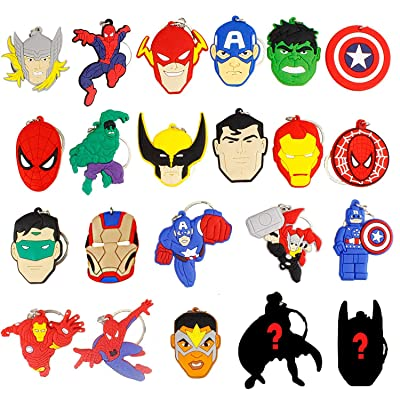 Melleco 20pcs Keychain Key Ring Superhero Theme Goodie Bag Stuffer Christmas Gift Holiday Charms for Kids Children Birthday Party Favors School Carnival Reward Prizes Decoration Collectible: Industrial & Scientific