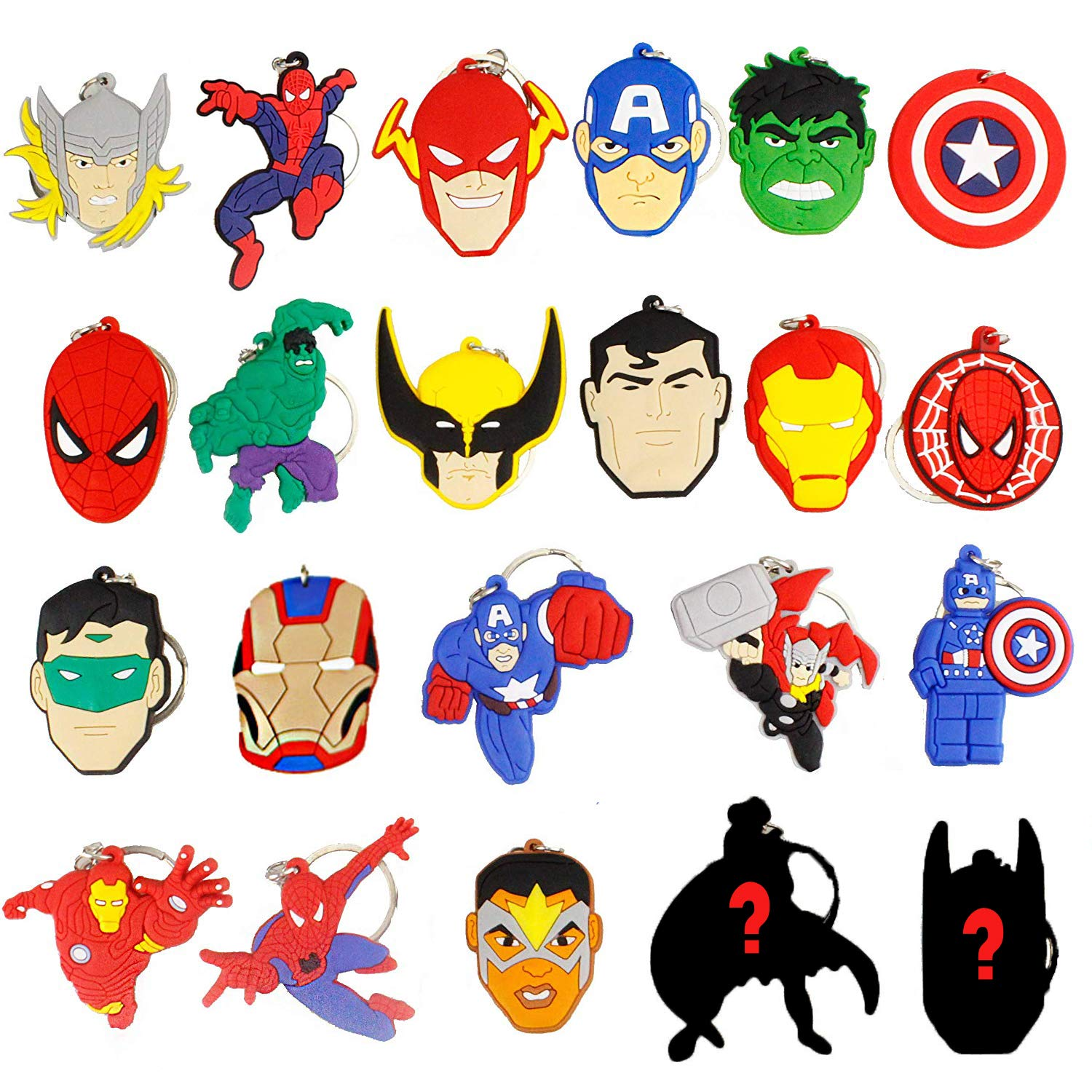 Melleco 20pcs Keychain Key Ring Superhero Theme Goodie Bag Stuffer Christmas Gift Holiday Charms for Kids Children Birthday Party Favors School Carnival Reward Prizes Decoration Collectible