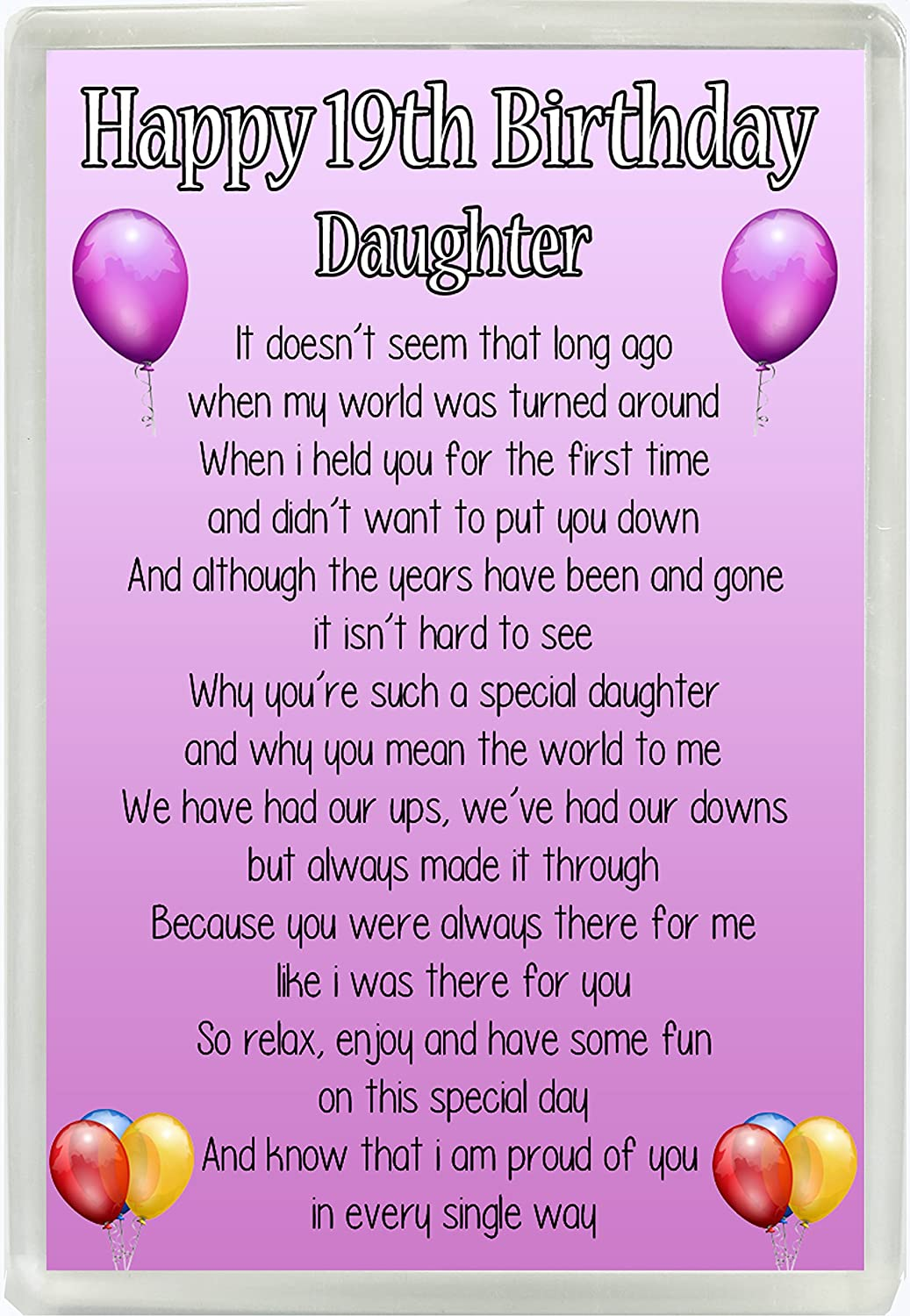 Happy 19th Birthday Daughter Poem Jumbo Fridge Magnet Ideal Gift M90 Amazoncouk Kitchen Home