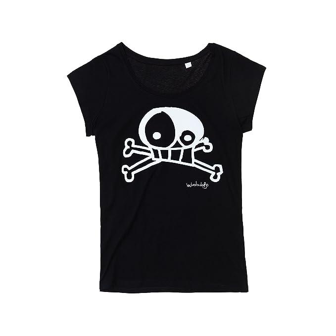 BICHOBICHEJO Camiseta Ecológica Mujer Calavera, Negro, S: Amazon.es: Ropa y accesorios