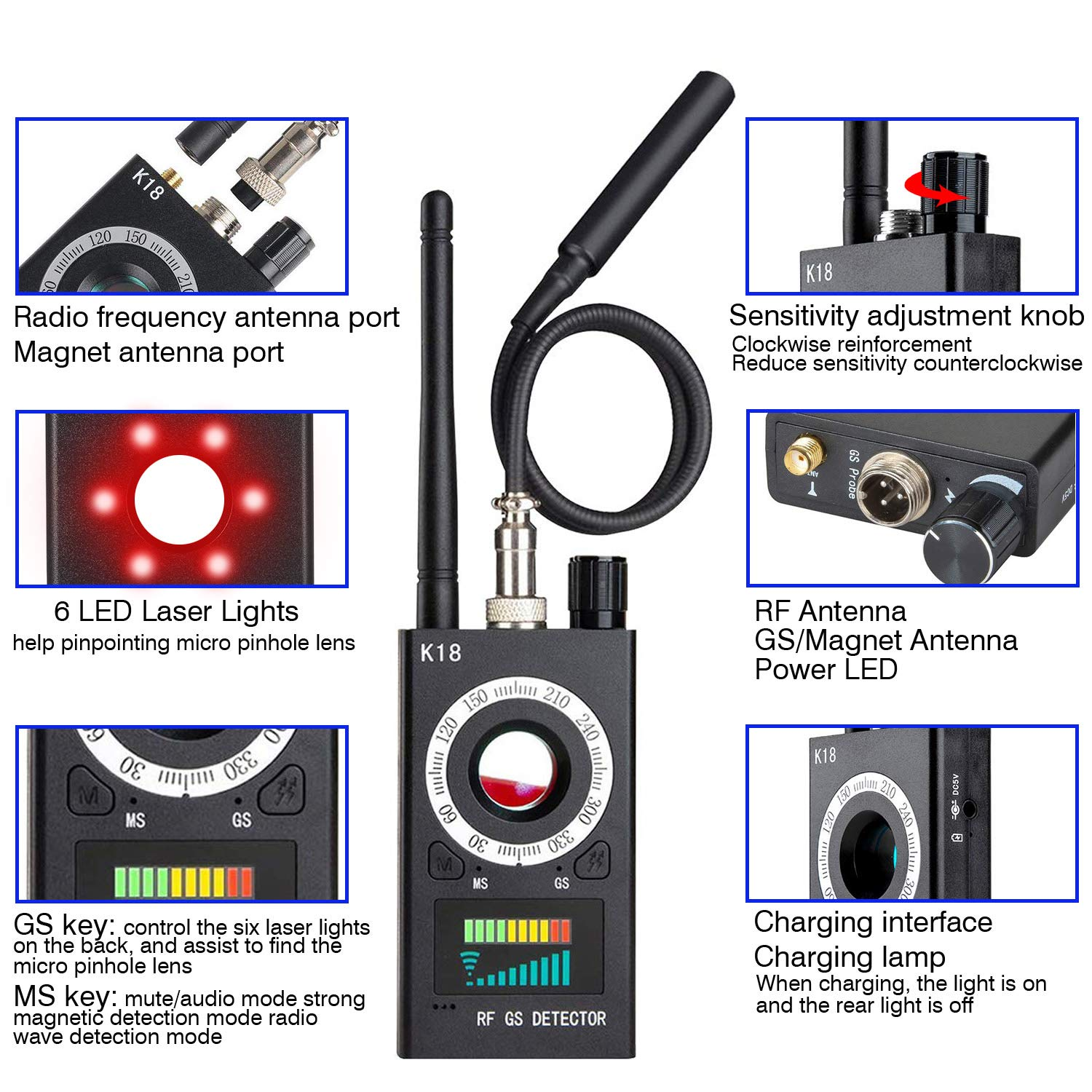 Anti Spy Detector & Camera Finder RF Signal Detector GPS Bug Detector Hidden Camera Detector for GSM Tracking Device GPS Radar Radio Frequency Detector by techtop (Image #3)