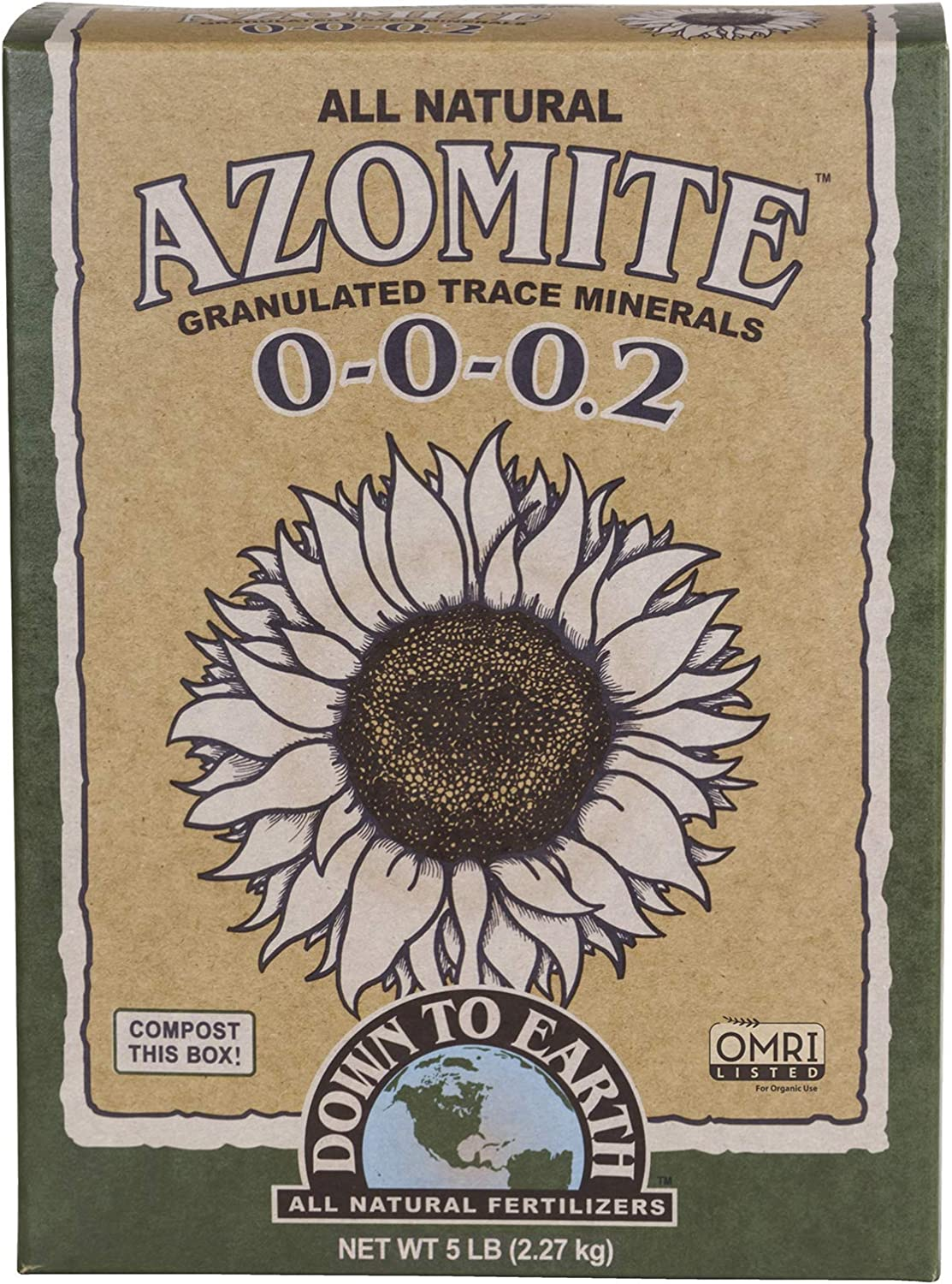 Down to Earth Organic Azomite Granulated Trace Minerals 0-0-0.2, 5 lb