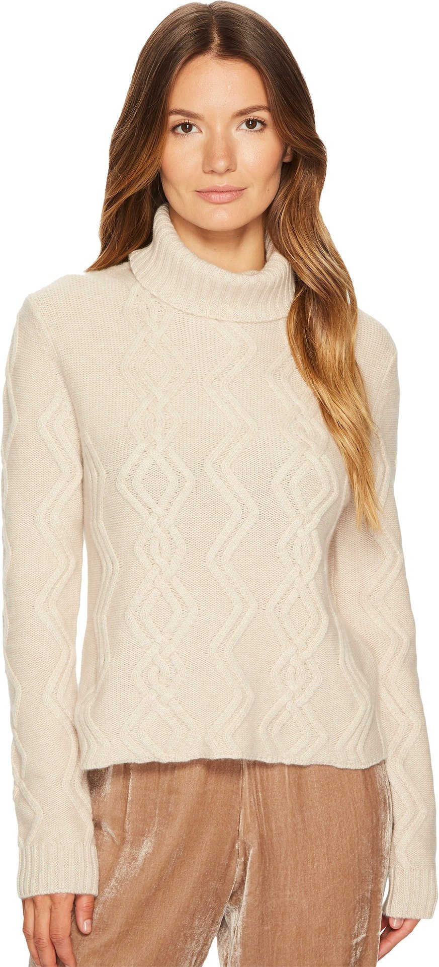 Cashmere In Love Women's Tess Cropped Cable Knit Pullover Wheat Medium