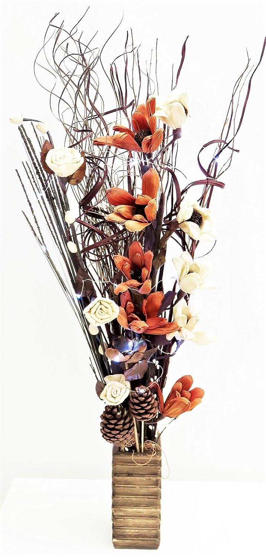 Link Products - Vasi in legno con fiori ed erba artificiali e luci LED, Teal, 85 cm