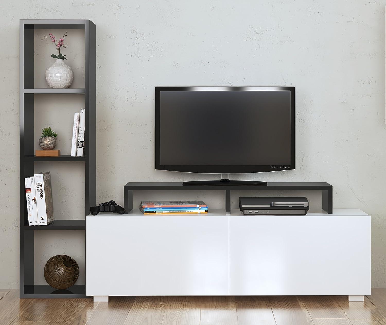 ASTER Mueble salón comedor para televisión - Blanco / Negro - Mueble bajo para televisor - Juego de muebles de salón - Mesa de Televisión en diseño elegante: Amazon.es: Juguetes y juegos
