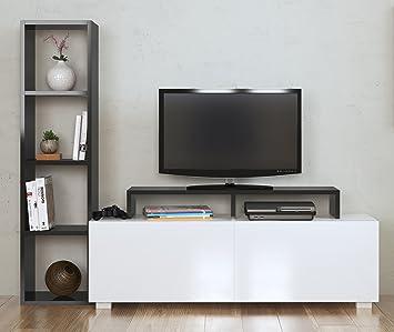 Homidea Aster Meuble Tv Avec Etageres Blanc Noir Amazon Fr