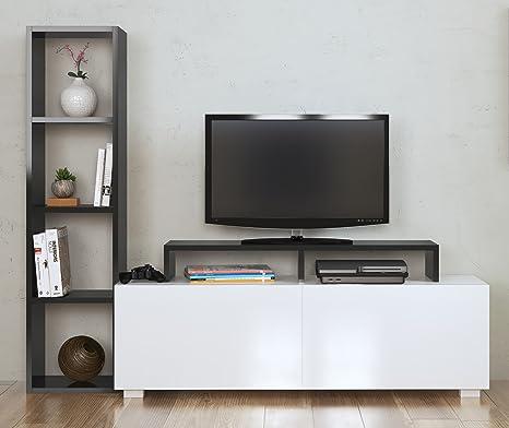 Aster - Mobile TV da Salotto, Bianco e Nero, con scaffali, Design ...