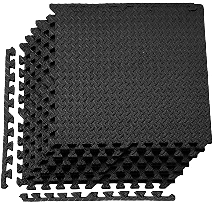 Abaseen ComFy Protective Floor Puzzle Exercise Mat 80 Square feet Black, 20 TILES EVA Foam Interlocking Tiles Protective Flooring for Home Gym Indoor Outdoor Workouts and Garage