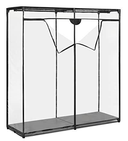 Whitmor Extra Wide Clothes Closet   Freestanding Garment Organizer With  Clear Cover